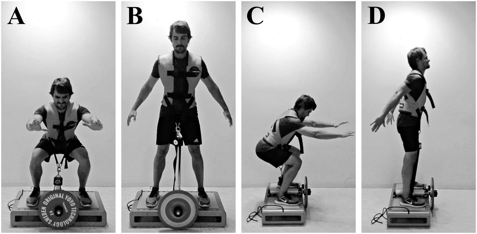 "FIGURE 1. Concentric–eccentric bilateral half-squats performed on a ""YoYo squat"" inertial flywheel device; anterior view (A,B), lateral view (C,D)."