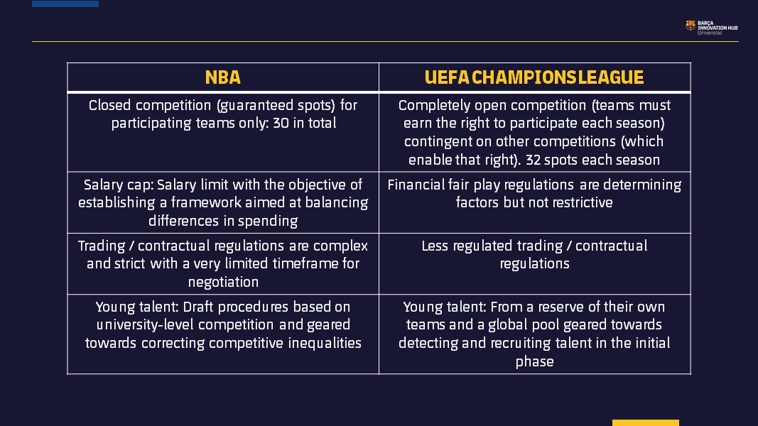 Table 1: Principal determining factors in scouting for Champions League vs. NBA