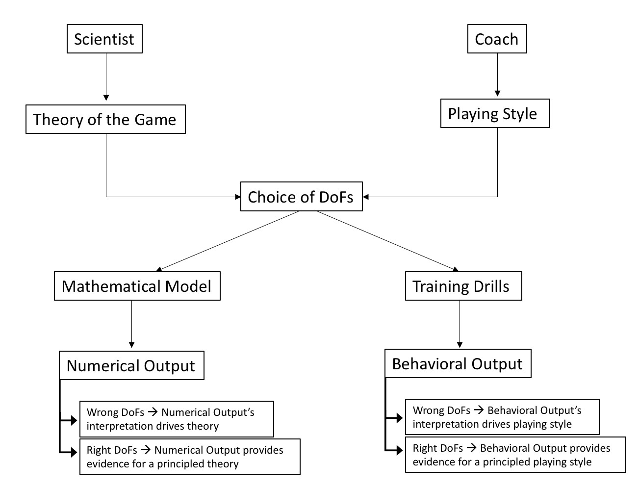 Figure 1. It represents the similar challenges that scientists and coaches have to face to work on the system of interest. In both cases, the incorrect choice of the degrees of freedom will radically change the output (i.e., numerical or behavioral) forcing (slaving) the scientist or coach to comprehend the output based on their choice of DoFs rather than serving as evidence for testable predictions of a principled theory/playing style.