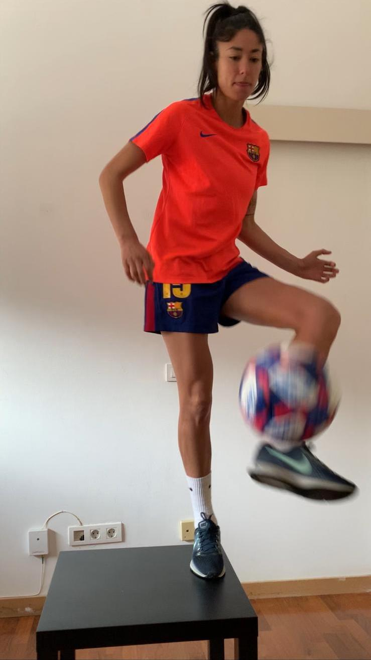 Leila Ouahabi during her training sessions at home.